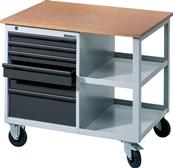 Werkbank Promat fahrbar B885xT605xH805 grau/anthrazit 2x50/1x75/2x100/1x175mm