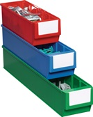 Lagerbox blau L300xB91xH81mm gewellter Boden PP PROMAT