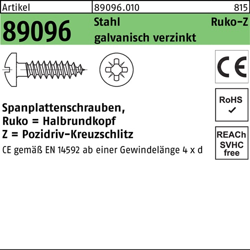 Spanplattenschrauben Ruko = Halbrundkopf Z = Pozidriv-Kreuzschlitz Edelstahl A2