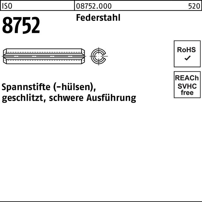 Spannstift geschlitzt schwere Ausf/ührung ISO 8752 Federstahl bl 8 x 36-100 Stk
