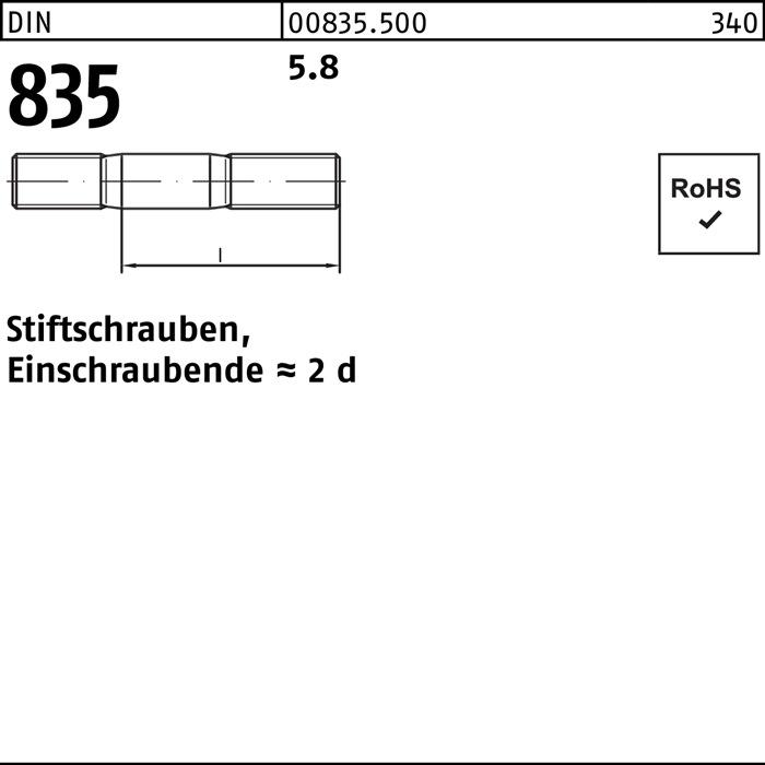 100 x  Stiftschrauben Einschraubende  2 d DIN 835 5.8 M 6 x 70