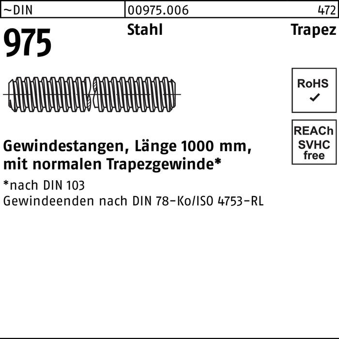 2 Stk Gewindestange DIN 975 Stahl Trapezgewinde 3 mm