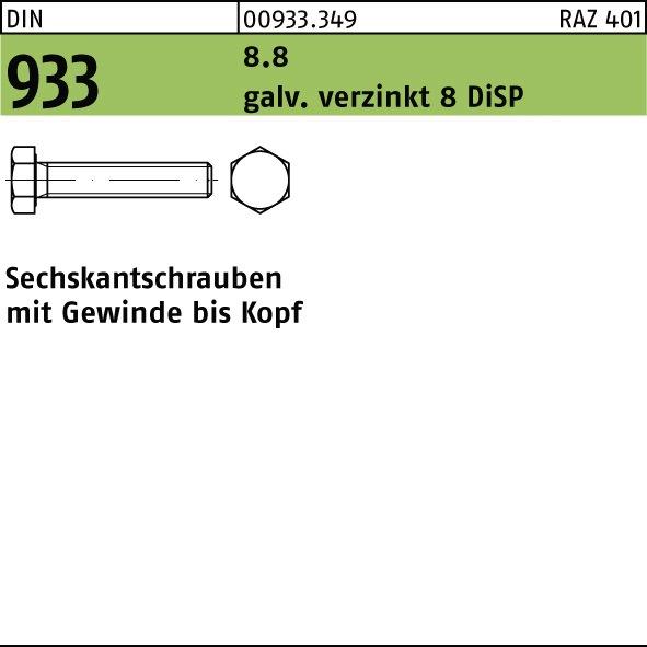 Sechskantschrauben 8.8 mit Gewinde bis Kopf DIN 933 galv verzinkt M 12 x 60-100 St/ück DIN 933