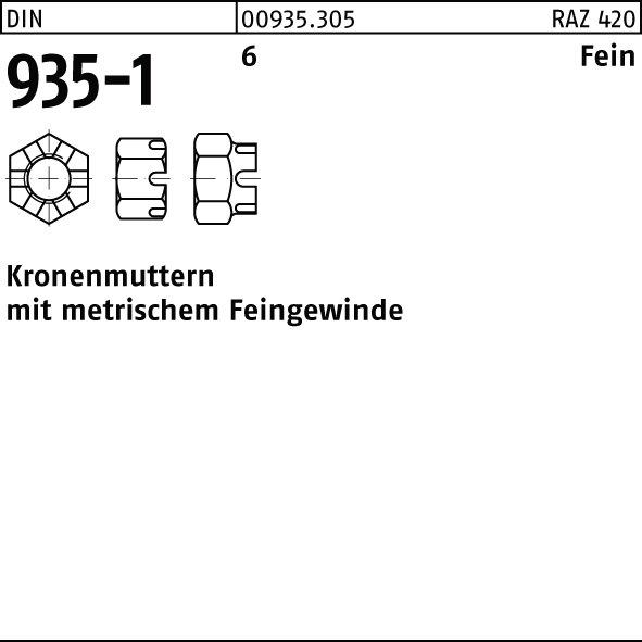 Stahl 2 Stk DIN 935 Kronenmutter Feingewinde M12 x 1,25