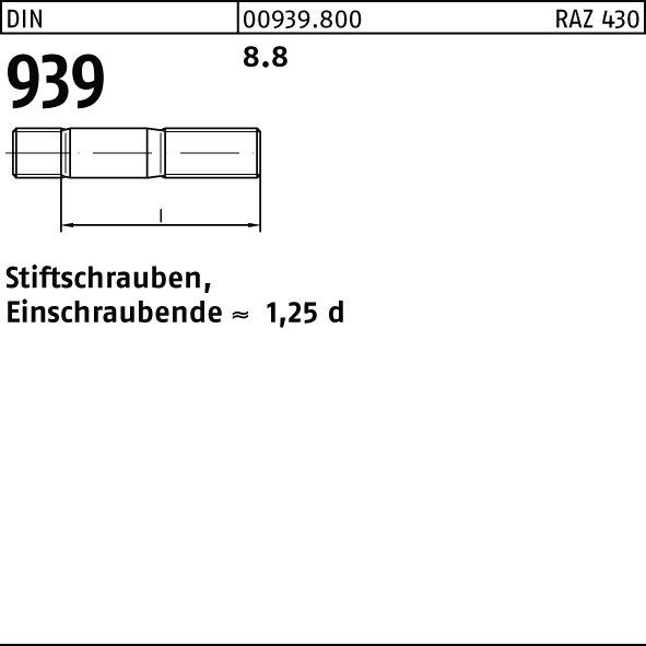10 Stiftschrauben DIN 939 8.8 M 20 x 80 verzinkt Stahl