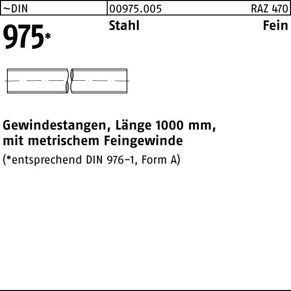 Stahl verzinkt 1 Stk Gewindestange DIN 975 Stahl M10 Linksgewinde