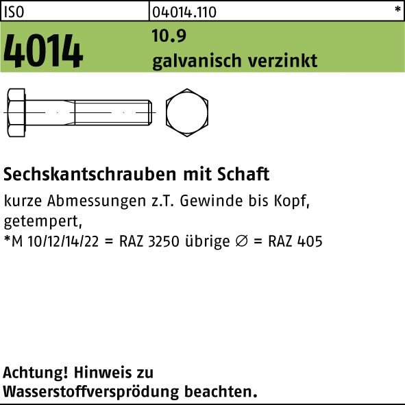 DIN 931 10.9 M12 x 140 10 Stk Sechskantschraube mit Schaft