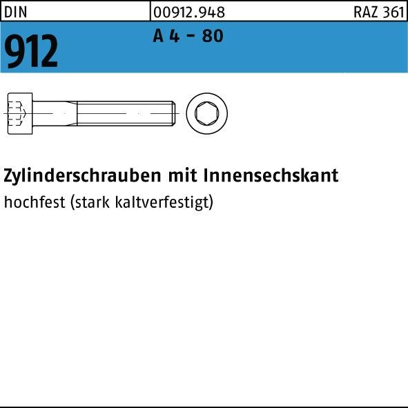 M 8 x 16 bis M 8 x 55 Gelb verzinkt Innensechskantschraube DIN 912 8.8