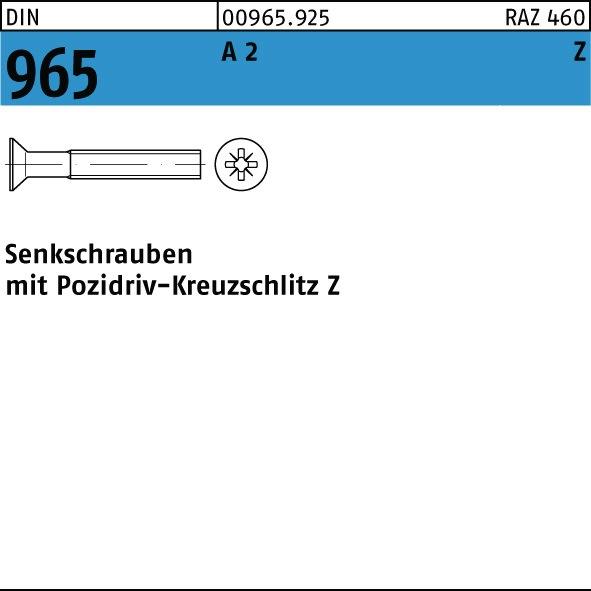 1000 Stück Senkkopfschrauben DIN 965 H M 2,5x  5 Edelstahl A2 Kreuzschlitz H