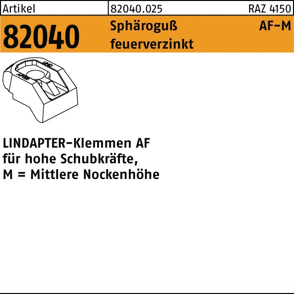 NL Klemme R 82040 Sphäroguß MM 20 Sphäroguß feuerverzinkt für ...