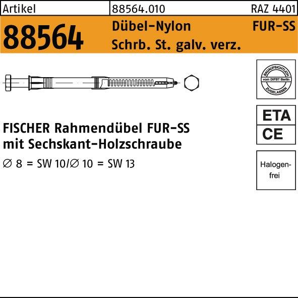 Nl Rahmendubel R 88564 Nylon St Zn Fur 8 X100 Ss Schraube Stahl Galv