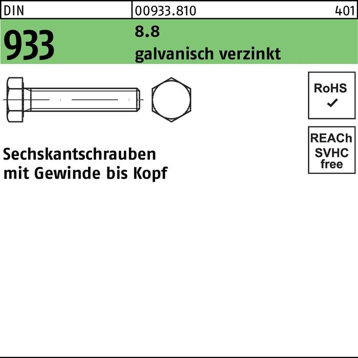 M 12 x 25-100 St/ück DIN 933 verzinkt Sechskantschrauben 8.8 mit Gewinde bis Kopf DIN 933 galv
