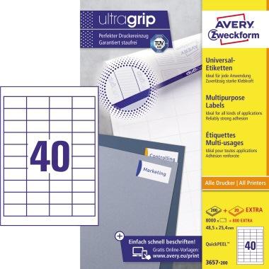 Papier weiß 240 Avery Zweckform Universaletikett 96 x 63,5 mm B x H