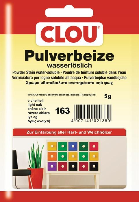 pulverbeize 163 eiche hell pulver wasserl slich 5g btl clou. Black Bedroom Furniture Sets. Home Design Ideas