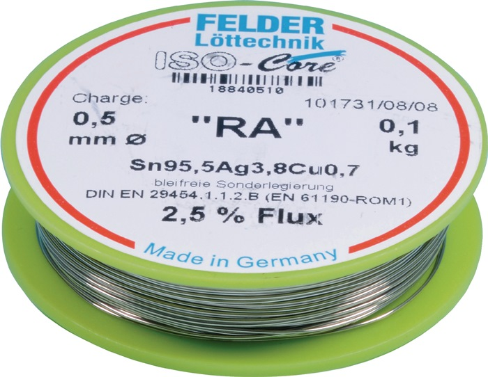 FELDER-18840510-Loetdraht-ISO-Core-RA-0-5mm-100g-Sn95-5Ag3-8Cu0-7-FELDER