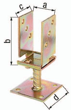 ALBERTS I-Pfostenträger höhenverstellbar 30-150 mm verzinkt  70x70x100x100x150mm