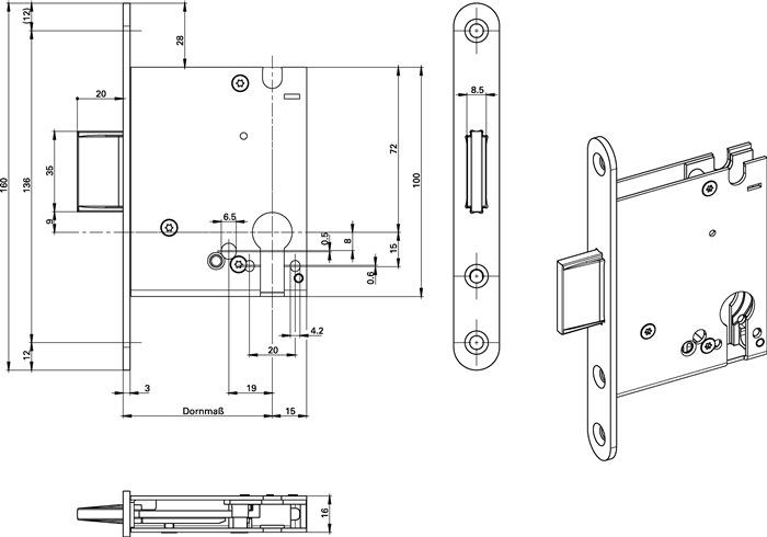 Einsteckriegelschloss 1308 PZ20//55mm SP silber ktg.BKS