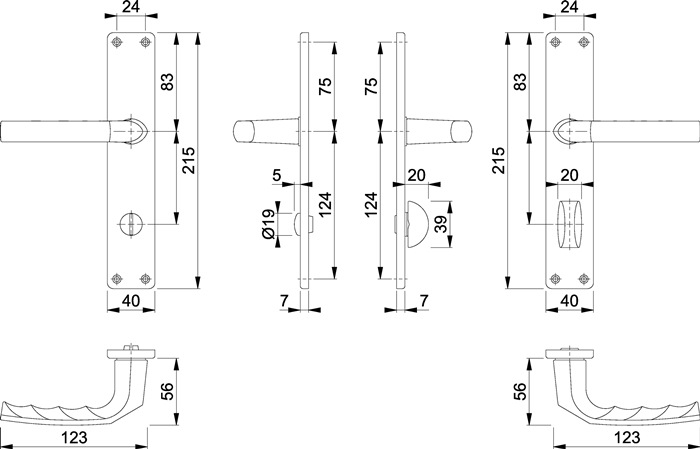 Langschildgarnitur Birmingham 1117//202SP Alu F1 OB 72mm DIN L//R