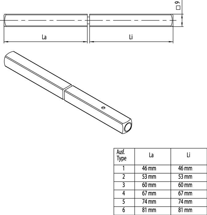 EDI FS-Dr/ückerstift Typ MF Vierkant 9 mm 140 mm Vollstift