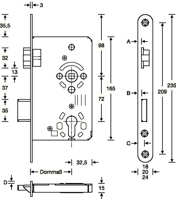 Kl 3 DIN Rechts Zimmert/ür-Einsteckschloss PZW 20// 65//72//8 mm rund
