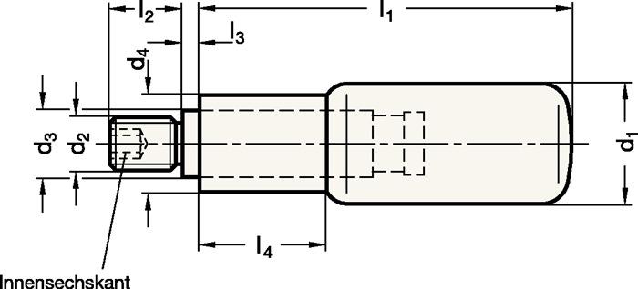 GANTER 798-KT-22-M8 Drehbarer Zylindergriff d1 22 mm d2 M 8 mm d3 14 mm