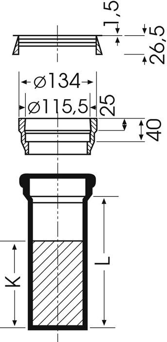 Duker Wc Rohr Sml 225 Mm Dn 100